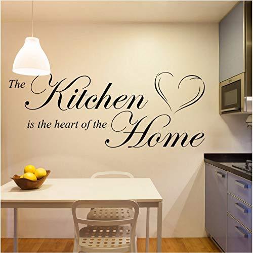 Küche ist das Herzstück des Hauses - Vinyl Wall Art Quote Wandgemälde Home Sticker Aufkleber 44x100cm (Rote Rose Herzstück)