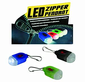 Flashing LED Zipper Pendant Light - Ideal for Runners, Joggers, Walkers on Dark Mornings and Nights - Ideal for Adding A Little Extra Light When Reading