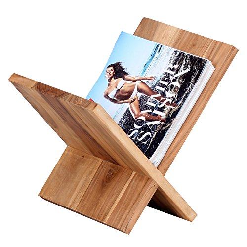 WOHNLING Zeitungsständer Massivholz Akazie X-Form 31 cm Zeitschriften-Ständer Design Prospekt-Halter Landhaus-Stil Holz-Regal Natur-Produkt Wohnzimmer-Regal Buch-Ablage Echtholz Ablagefach Unikat