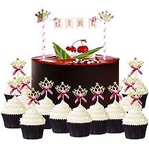 AMZTM Decoraciones De Fiesta De Cumpleaños De Niña Bebé Cake Topper Con 20 Piezas De Oro Brillo Corona Cupcake Topper