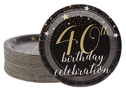 Blau Panda Einweg-Teller-80-Count Pappteller, 40. Geburtstag Party Supplies, für Aperitif, Mittagessen, Abendessen, und Dessert, 22,9x 22,9cm