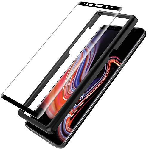 L K para Protector de Pantalla Samsung Galaxy Note 9 [9H Dureza] [Cobertura Completa] [3D Curvo] [kit Fácil de Instalar] Cristal Vidrio Templado - Negro