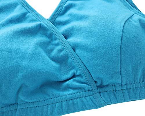 Manci Baumwolle Still BH, Damen Schwangerschafts Still BH für Stillen und Schlaf (Schwarz + Grau + Blau, XL/38B,38C,38D) - 2
