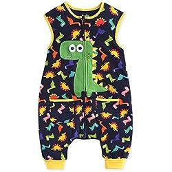 Saco de dormir para bebé Vaenait Baby, para niños de 1a7años, 100 % algodón, diseño de dinosaurio Azul azul 5-7 Años