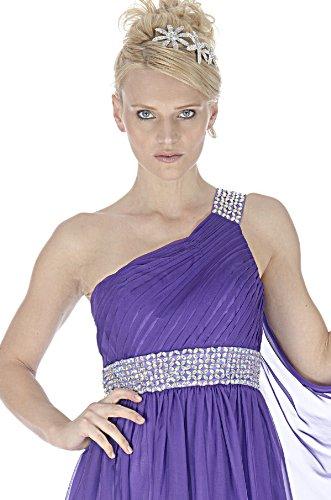 SEXYHER Griechischen Stil Cadbury Lila Perlen ein SchulterAbend-Brautjungfer Kleid - EDK1598 Lila