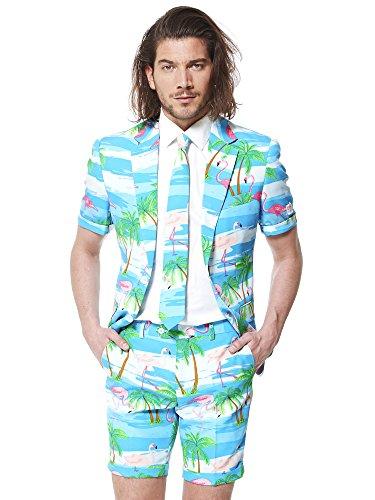 Opposuits Flaminguy Anzug für Herren besteht aus Sakko, Hose und Krawatte mit Flamingo ()