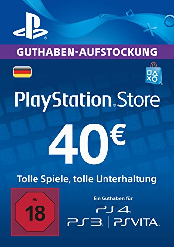 PSN Card-Aufstockung | 40 EUR | PS4, PS3, PS Vita Playstation Network Download Code - deutsches Konto