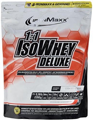 IronMaxx 1:1 IsoWhey Deluxe Cookies and Cream | Mehrkomponenten Proteinpulver aus Whey Isolat & Whey Konzentrat | 1 x 2,35kg (Energie-muskelaufbau Ernährung)