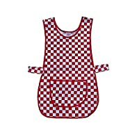 Mcintyre Brand Poly/Cotton Catering and Cleaners Tabard Apron, Red and White, Small/Medium