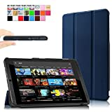 Infiland NVIDIA SHIELD Tablet K1 / NVIDIA SHIELD Funda Case-Ultra Delgada Tri-Fold Smart Case Cover PU Cuero Smart Cascara con Soporte para 2015 NVIDIA SHIELD Tablet K1 (Newest Version) / 2014 NVIDIA Shield 2 Tablet (8 pulgadas)(con Auto Reposo / Activaci¨®n Funci¨®n)(Azul Oscuro)