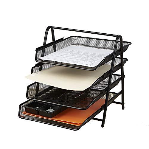Mind Reader 4tpaper-blk 4Etagen Paper Tray Schreibtisch Organizer, schwarz schwarz (Schreibtisch-tier Tray)