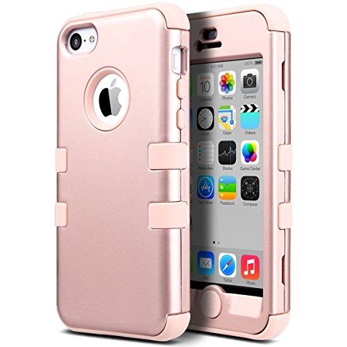 ULAK iPhone 5c Hülle, iPhone 5c Case 3 Layer Hybrid Combo Innere Weiche Silikon Hart Plastik Anti-stoß Schutzhülle Tasche Case Cover für Apple iPhone 5c (Rosé Gold)