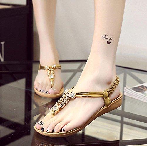 chaussures sandales femme bas Xia Jiping sandales perlées de diamants sandales string Mme Gold