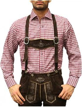 Trachtenhemd für Trachlederhosen Trachtenmode Oktoberfest Beere/karo