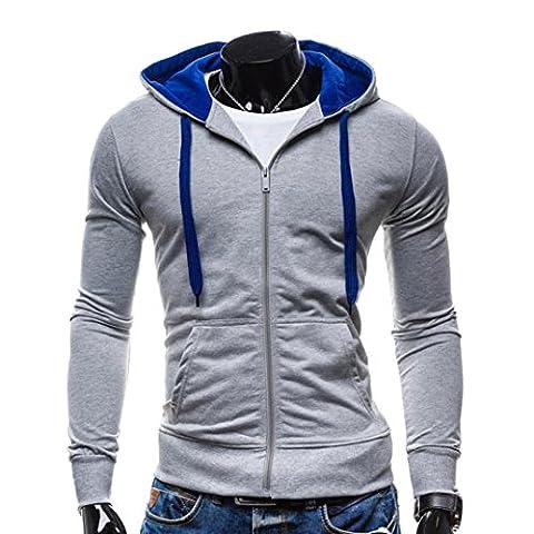Tonsee Hommes Chaudes Slim Sweats Capuche Hiver Mode Sweats à capuche (M, Gris)