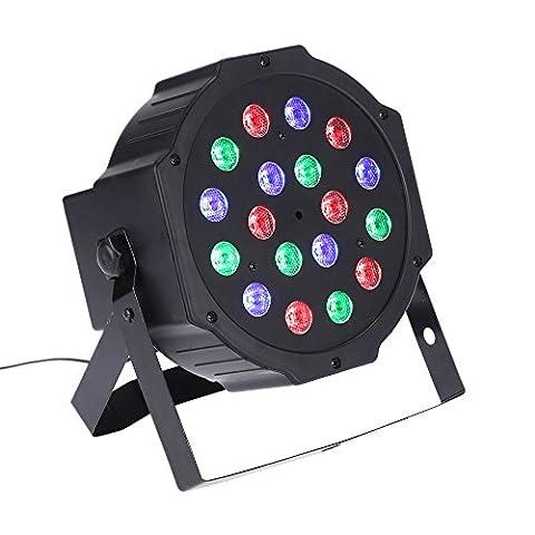 Docooler PAR-Licht-Beleuchtung, DMX512 18W 18 Led RGB (6 Rot+6 Grün+6 Blau)1/2/3/4/5/6/7-Bühne Effekt Licht/Sound Aktiviert/Support Auto-Modus