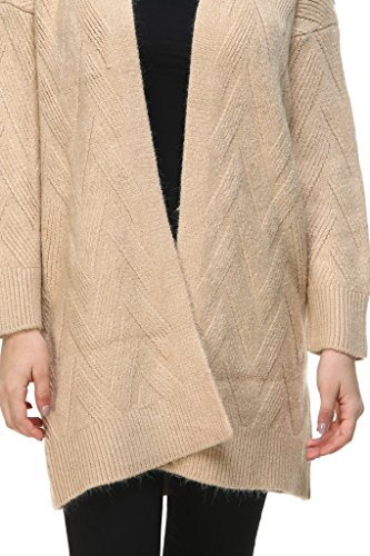 Vogueearth Fashion Warm Femme's Ladies Longue Manche Twist Knit Longue Sweater Chandail Tricots Open Cardigan Kaki