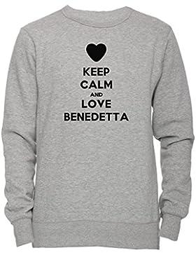 Keep Calm And Love Benedetta Unisex Uomo Donna Felpa Maglione Pullover Grigio Tutti Dimensioni Men's Women's Jumper...