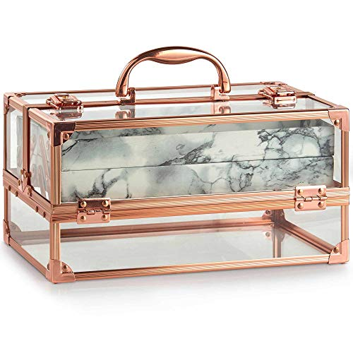 Beautify Make Up Beauty Storage Vanity Acrylic Large Lockable Case with Rose Gold Frame & Marble Effect Interior