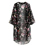 Internet Women Floral Printed Half Sleeve Chiffon Kimono Cardigan Coat (S, Black)