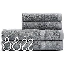 Toallas de mano conjuntos algodón Washcloth cuarto de baño ULG lujoso hotel gris uso de toallas para la mano del baño de la cara Gimnasio y Spa 2 toallas de mano y 2 toallitas
