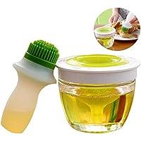 Botella de aceite y brocha de silicona hilván Pincel de resistente al calor barbacoa cepillo con recipiente de cristal aceite 148ml para cocinar hornear barbacoa