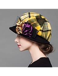 Otoño e invierno sombrero femenino cúpula lana mantener cálido sombrero ( Color : Amarillo )