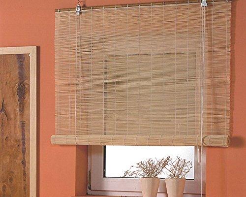 Bambusrollo Seitenzug Fenster Rollos Raffrollo Holzrollo Natur Sichtschutz Länge 160 cm Breite 60-160 cm