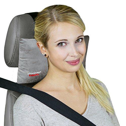 SANDINI RelaxFix® – Nackenkissen für Autositz/ Nackenstützkissen/ Autostützkissen – VIELE FARBEN – Einfache Anbringung an der Kopfstütze – Sorgt für entspanntes Anlehnen/ Zurücklehnen im Auto