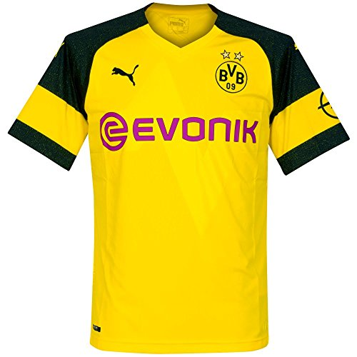 Puma BVB Home Shirt Replica Evonik with Opel Logo Jersey, Hombre, Cyber Yellow, M