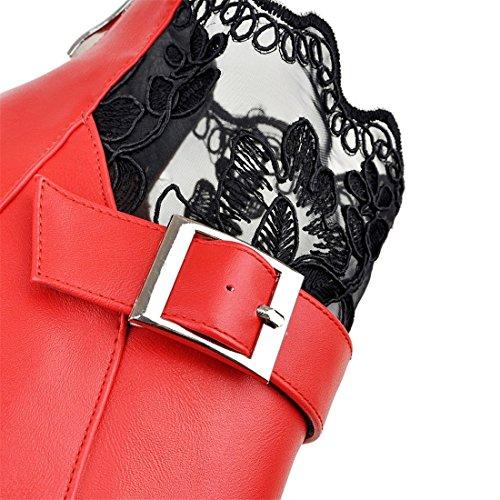 YE Damen Spitze High Heel Stiletto Stiefeletten mit Schnalle und Hinter Reißverschluss Frühling Herbst Elegant Short Ankle Boots Schuhe Rot
