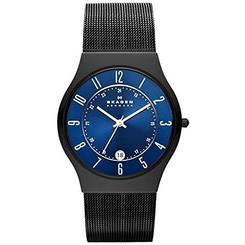 Skagen T233XLTMN GRENEN Uhr Herrenuhr Edelstahl 30m Analog Datum schwarz blau