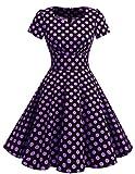 Dresstells Damen Vintage 50er Rockabilly Kurzarm Swing Kleider Partykleid Black Purple Dot M