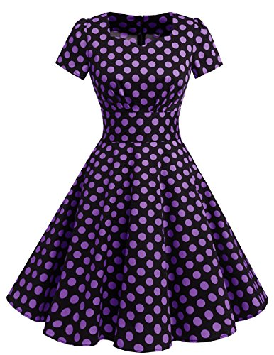 Dresstells Damen Vintage 50er Rockabilly Kurzarm Swing Kleider Partykleid Black Purple Dot XS