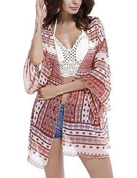 Mujer Verano Cardigan de Gasa Camiseta Suelta Vestido de Playa Traje de Baño Tops Gasa Bohemio Manga Asimetricas...