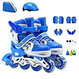 ZCRFY Inline Skates Kinder Einstellbare Rollschuhe Kinderrollen Für Anfänger Kleinkinder Kinder Schlittschuh Geburtstagsgeschenk Rollerblades,Blue-Set2-S(26-32) Code