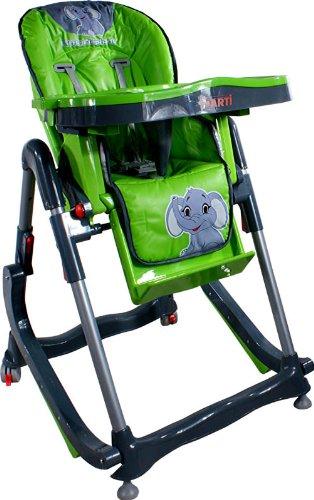 Chaise haute de bébé pour enfants ARTI Modern RT-004 Green Little Elephant Chaise haute pour bébés avec transat, balancelle fonction