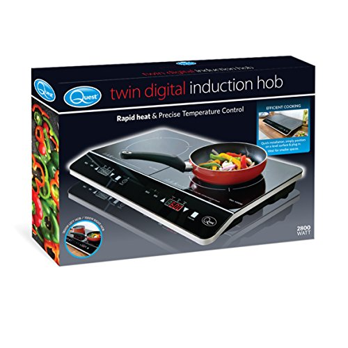 Quest 35840 Benross Digital Induction Hob Hot Plate with 10 Temperature Settings and Touch Control, Double, 2800 W, Black