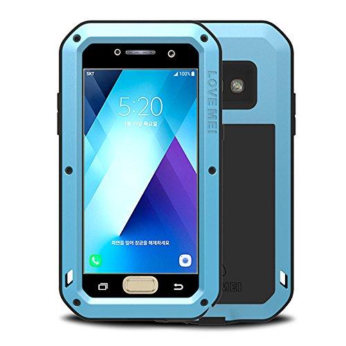Galaxy A5 2017 Hülle, Love mei Mächtig Leistungsstarke Schwerlast Hybride Aluminium Metall Rüstung Stoßfest Schmutzabweisend Staubdicht Case für Samsung Galaxy A520 mit Hartglas (Weiß) Blau