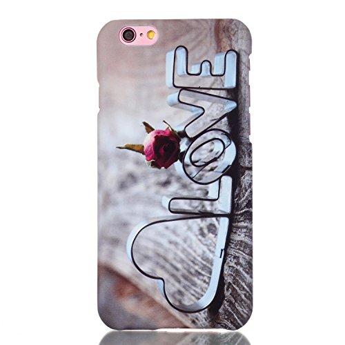 iPhone 6 Hülle,iPhone 6S Case,iPhone 6S Hardcase - Felfy TPU Rahmen Schutzhülle Hart Acryl Zurück Handy Tasche Frischer Fashion Muster Durchsichtige Rückschale und Bling Kristall Diamant Strass Siliko LOVE