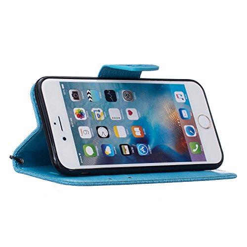 iPhone 6 Hülle,iPhone 6S Hülle,Cozy Hut Schutzhülle / Cover / Handyhülle / Etui / Lederhülle / Leder Tasche Case Cover für iPhone 6 6S (4,7 Zoll) Hülle PU Schutz Etui Schale Grauer Bär Muster Design B Blue
