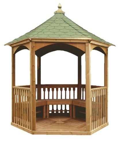 Kiosque Hexagonal en Bois pour le Jardin avec Plancher, Balustrade et Toit en Bardeaux Bituimneux (h 310 x 280 x 240 cm)
