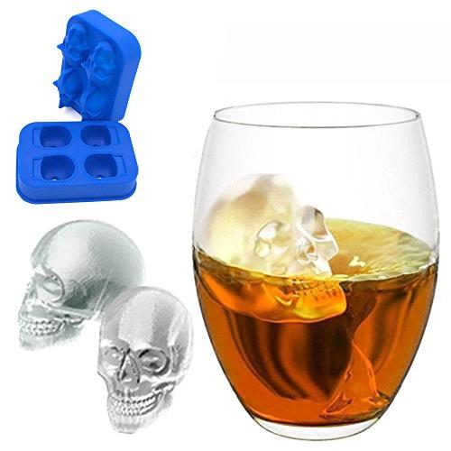 MAYOGO Eiswürfel Schädel Form Schimmel,Schädel Form 3D Eiswürfelform Maker Bar Party Silikon Tabletts Schokoladenform Geschenk -