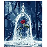 DIY Oil Painting, Paint By Numbers Kit- Digital Oil Drawing Craft Canvas Painting Set Wall Art Home Decoration Gifts For Children Adults,The Everlasting Flower Rose Wineglass Images Pattern - 30x40cm