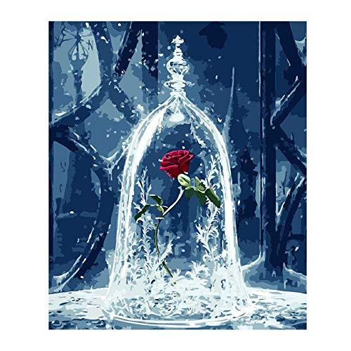 FOONEE Ölgemälde nach Zahlen, DIY Ölgemälde für Erwachsene, Kinder, Anfänger, Ewige Blume Rose...
