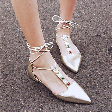 LvYuan sandales printemps chaussures club d'été en cuir de vache tenue décontractée talon bas Gold