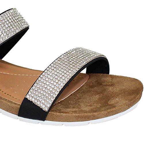 ZAFFIRO BOUTIQUE JLH706 Adelaide Donna Cinturino Diamante Piatto Comodo Sandali Alla Moda Nero