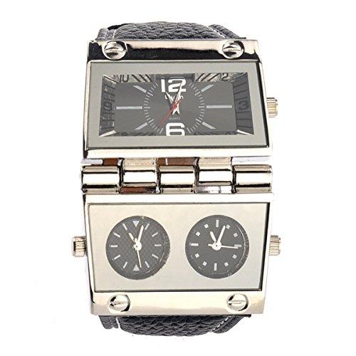 PIXNOR Oulm 9525 Cool Mens drei Zeitanzeige Business Sport Quarz-Armbanduhr (schwarz)