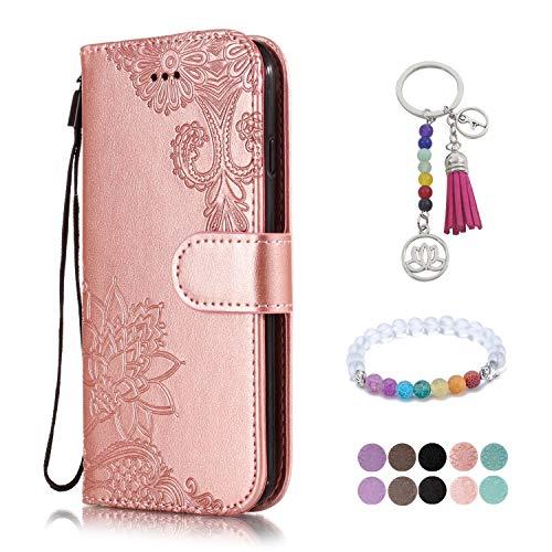 LA-Otter Huawei P10 Lite Hülle Leder Rosegold Spitze Blume Tasche Handyhüllen Lederhülle Ledertasche mit Kartenfach Schutzhülle Flip Case Klapphülle
