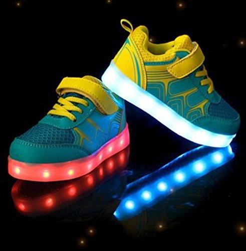 (Présents:petite serviette)JUNGLEST Unisexe Enfant Filles Garçons Couleur USB Charge LED Lumière Lumineux Clignotants Chaussures Jaune